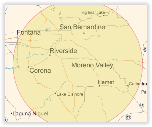 Interpreting services map - Corona, California region