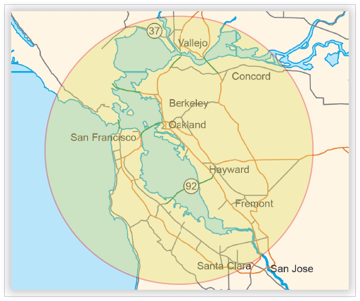 On-site interpreting map - Oakland, California region