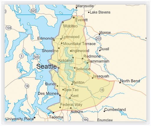 On-site ASL interpreting map - Seattle, Washington region