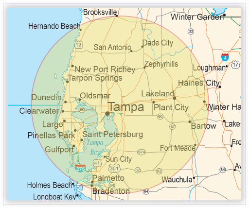On-site interpreting map - Tampa, Florida region