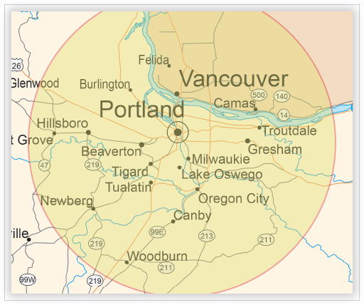 American Sign Language interpreting map - Vancouver and Portland, Washington region